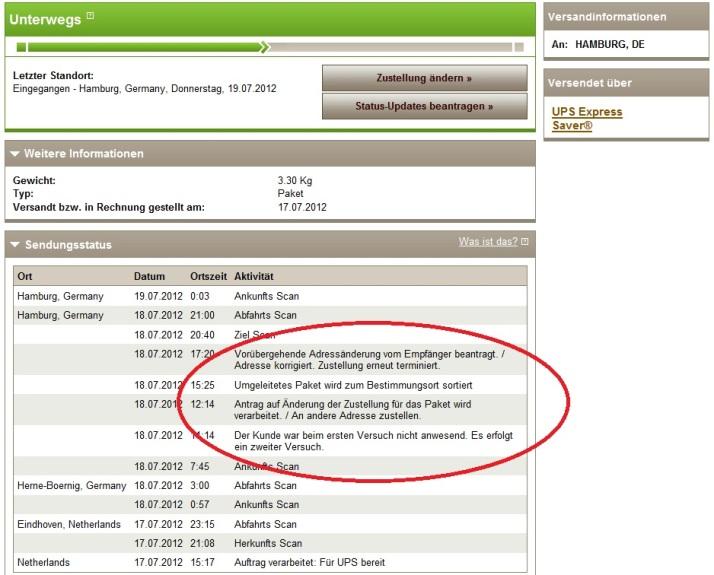 Lieferungshistorie UPS online